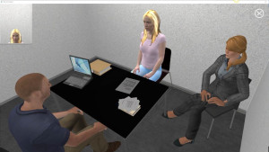 Visual from the system of an interviewing situation with a female Visual Suspect. © LAW-TRAIN