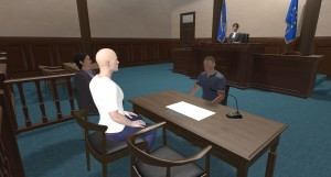 Visual from the system of a court room situation with a male Virtual Suspect. © LAW-TRAIN